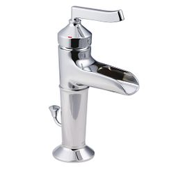 Chrome one-handle open waterway bathroom faucet
