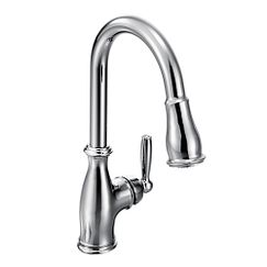Chrome one-handle high arc pulldown kitchen faucet
