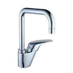 Chrome one-handle high arc kitchen faucet