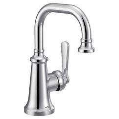 Chrome one-handle high arc bathroom faucet