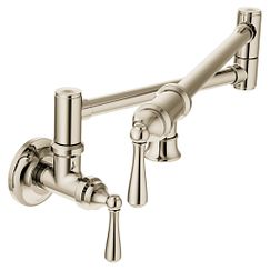 Polished nickel two-handle kitchen faucet