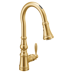 Brushed gold one-handle high arc pulldown kitchen faucet